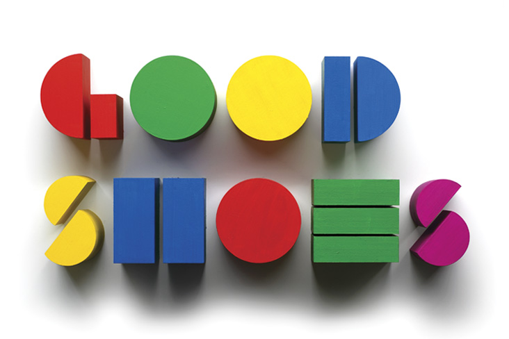Good Shoes Think Before You Speak wooden block letters